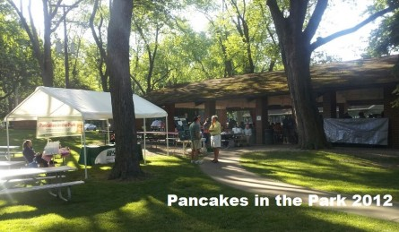 Pancakes in the Park at Patriarche Park, Sponsor tents and pavilion