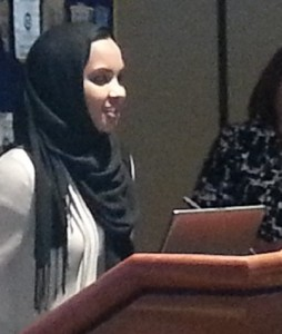 East Lansing Senior Juwahir Mohamud addresses the Rotary CLub