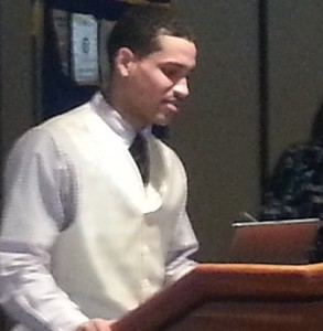 High School Senior Kenneth Williams addresses the Rotary Club